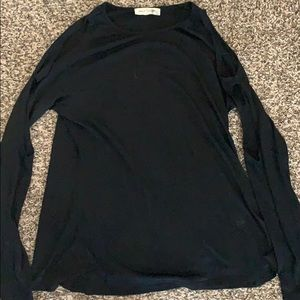 Tops - Black large long sleeve shirt w/ holes on shoulder